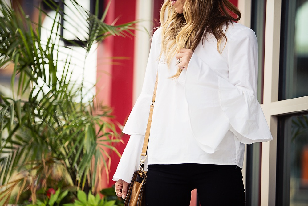 the motherchic wearing chelsea28 bell sleeve blouse
