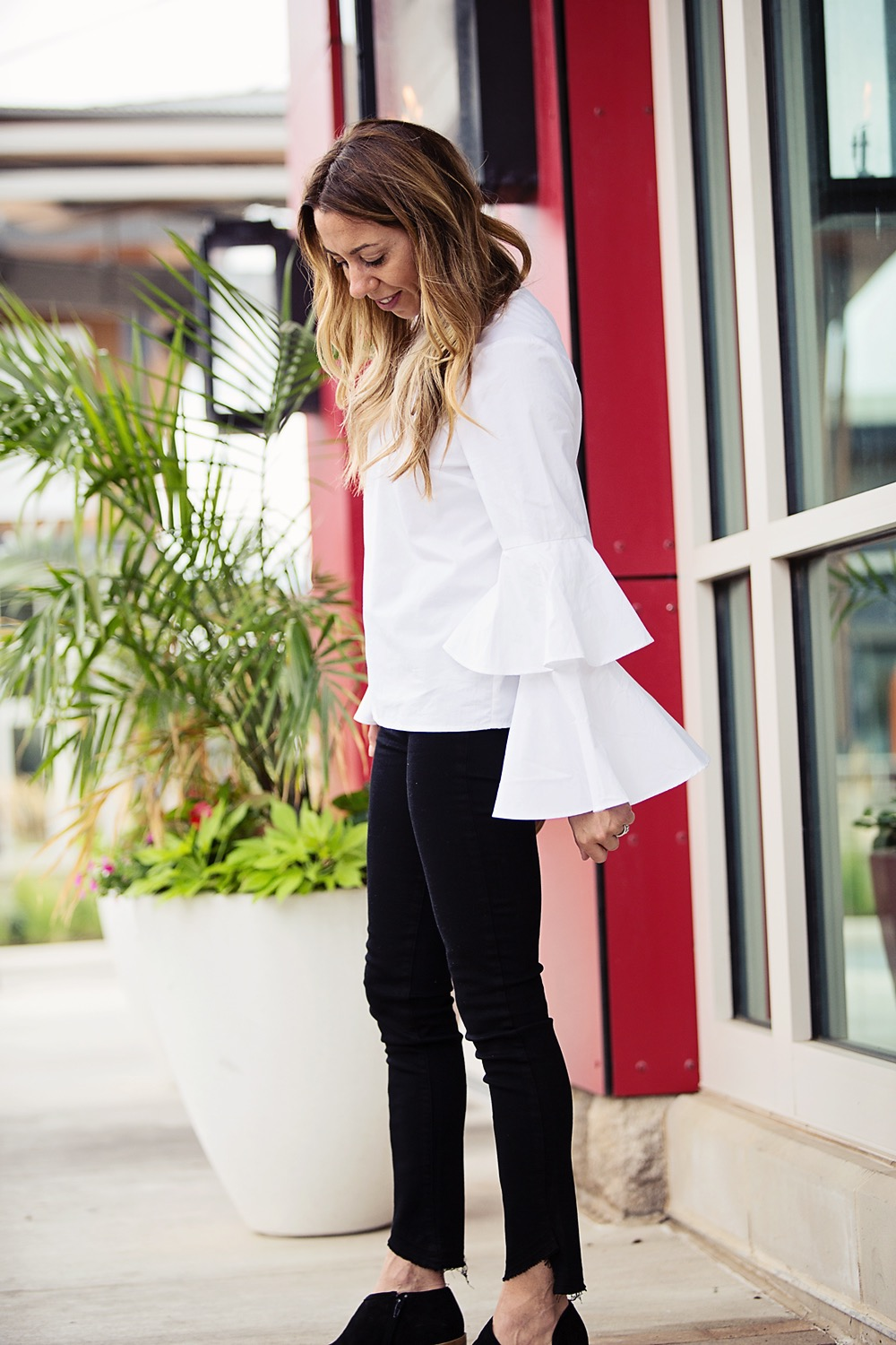 the motherchic wearing chelsea28 tiered sleeve blouse