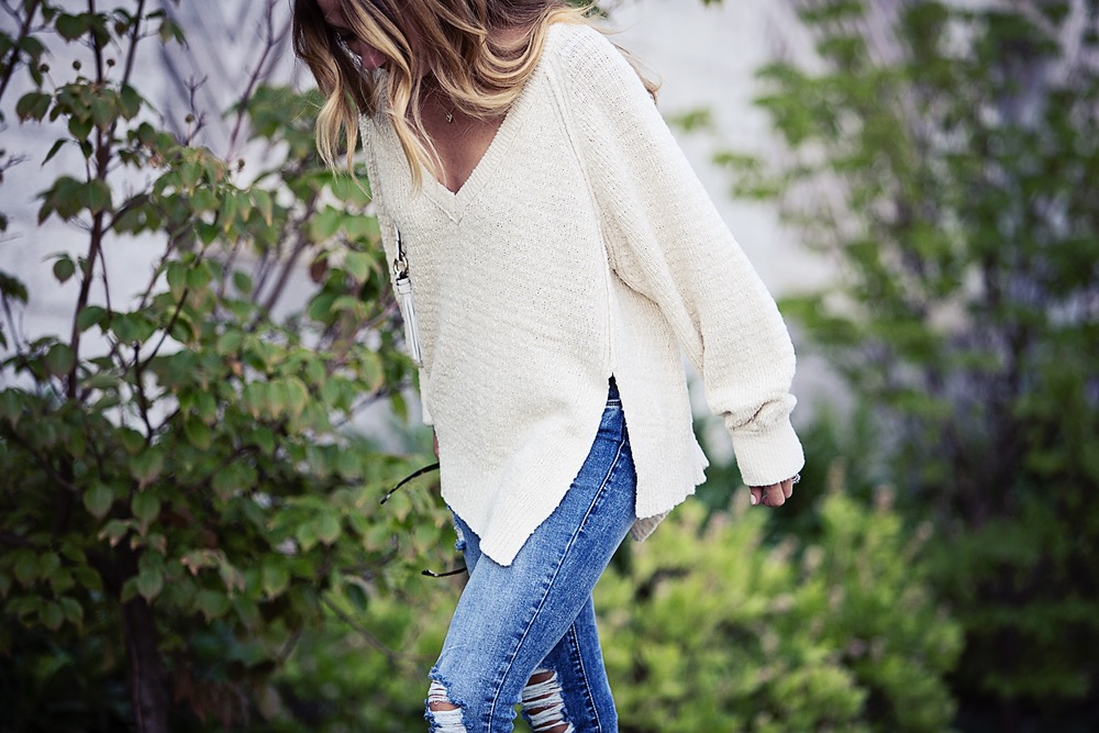 the motherchic wearing neutral knit sweater by free people