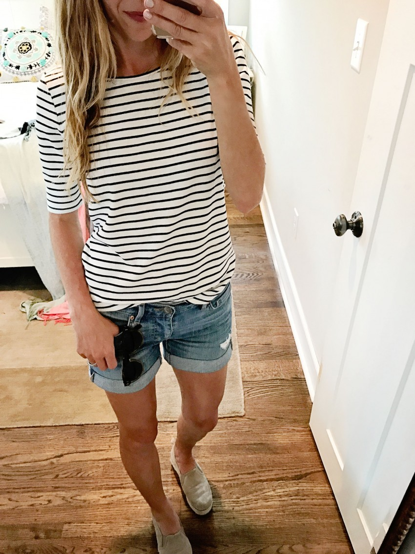 Loft striped tee and denim shorts