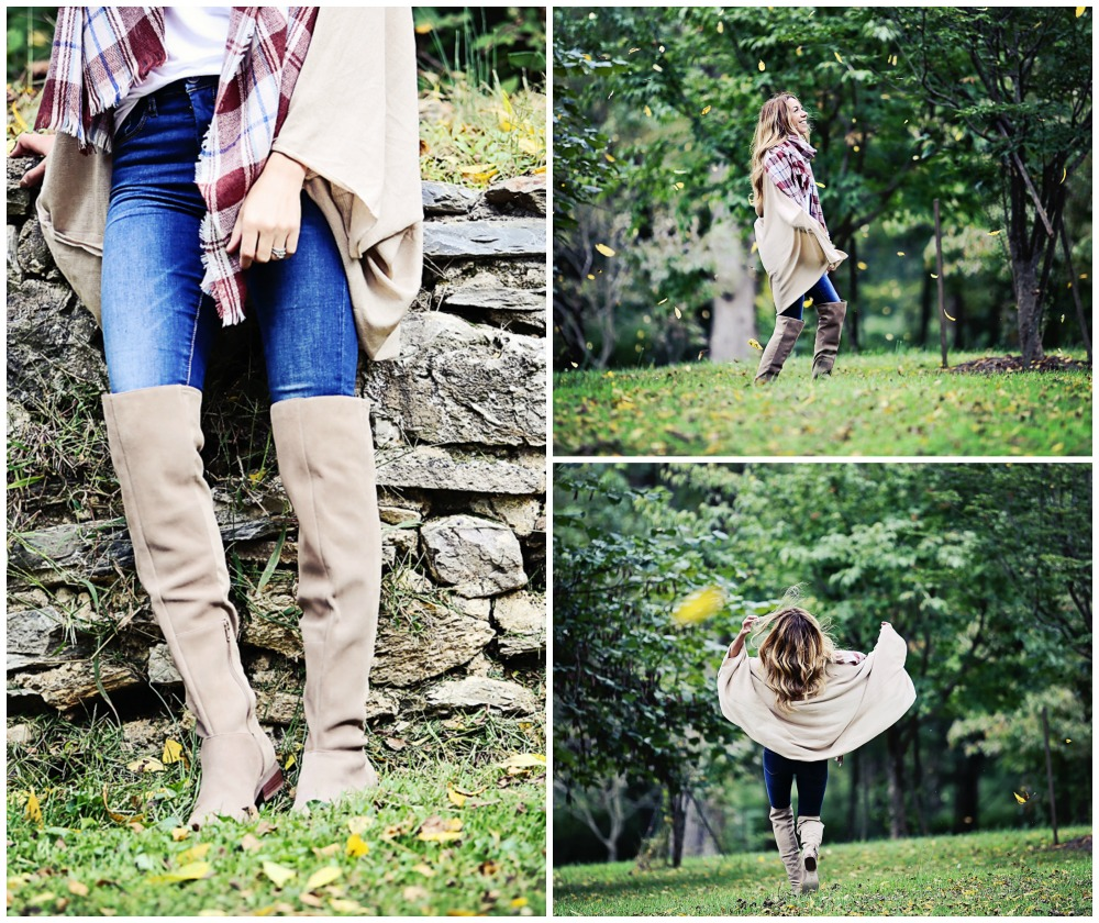 The Motherchic wearing sole society OTK boots - easy fall 30 second outfit