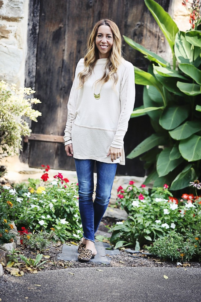 The Motherchic wearing an easy fall outfit - free people tunic and DL1961 jeans