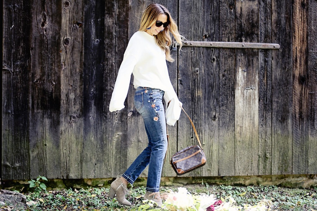The Motherchic wearing embroidered denim jeans by Free People