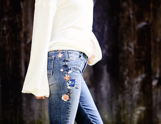 The Motherchic wearing free people embroidered denim
