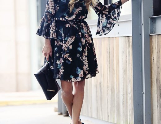 The Motherchic wearing Vince Camuto floral dress and velvet sandals