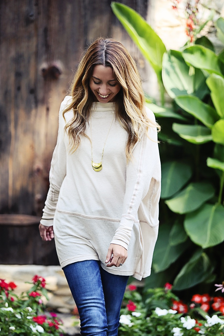 68c90b8c59d The Motherchic wearing an easy fall outfit - free people tunic and blank  nyc jeans