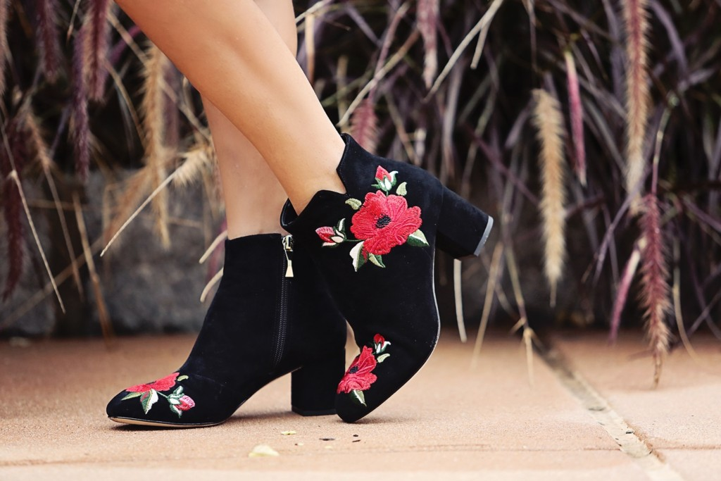 The Motherchic wearing Kate Spade embroidered booties