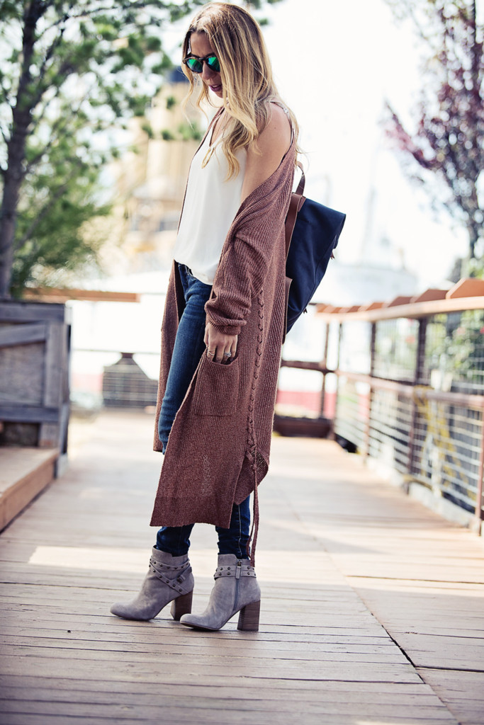 The Motherchic wearing longline cardigan