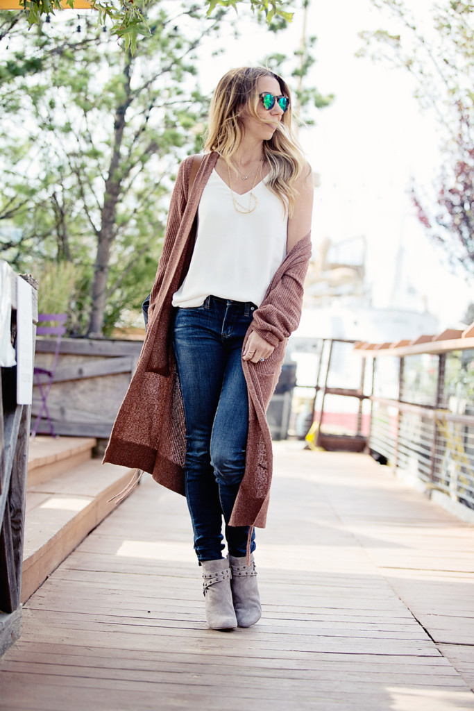 The Motherchic wearing long cardigan from Nordstrom