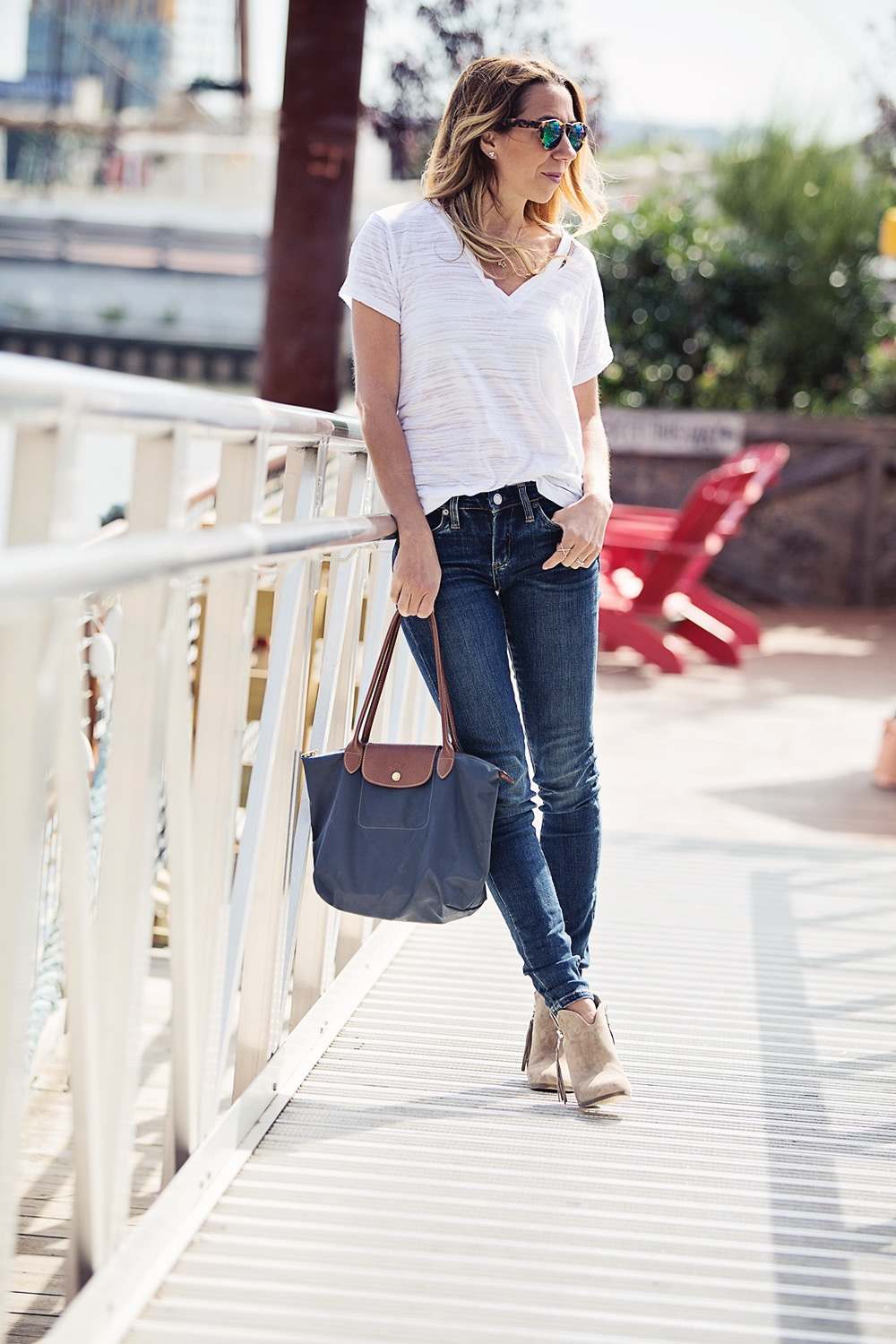 The Motherchic wearing Lush tee and blanknyc denim
