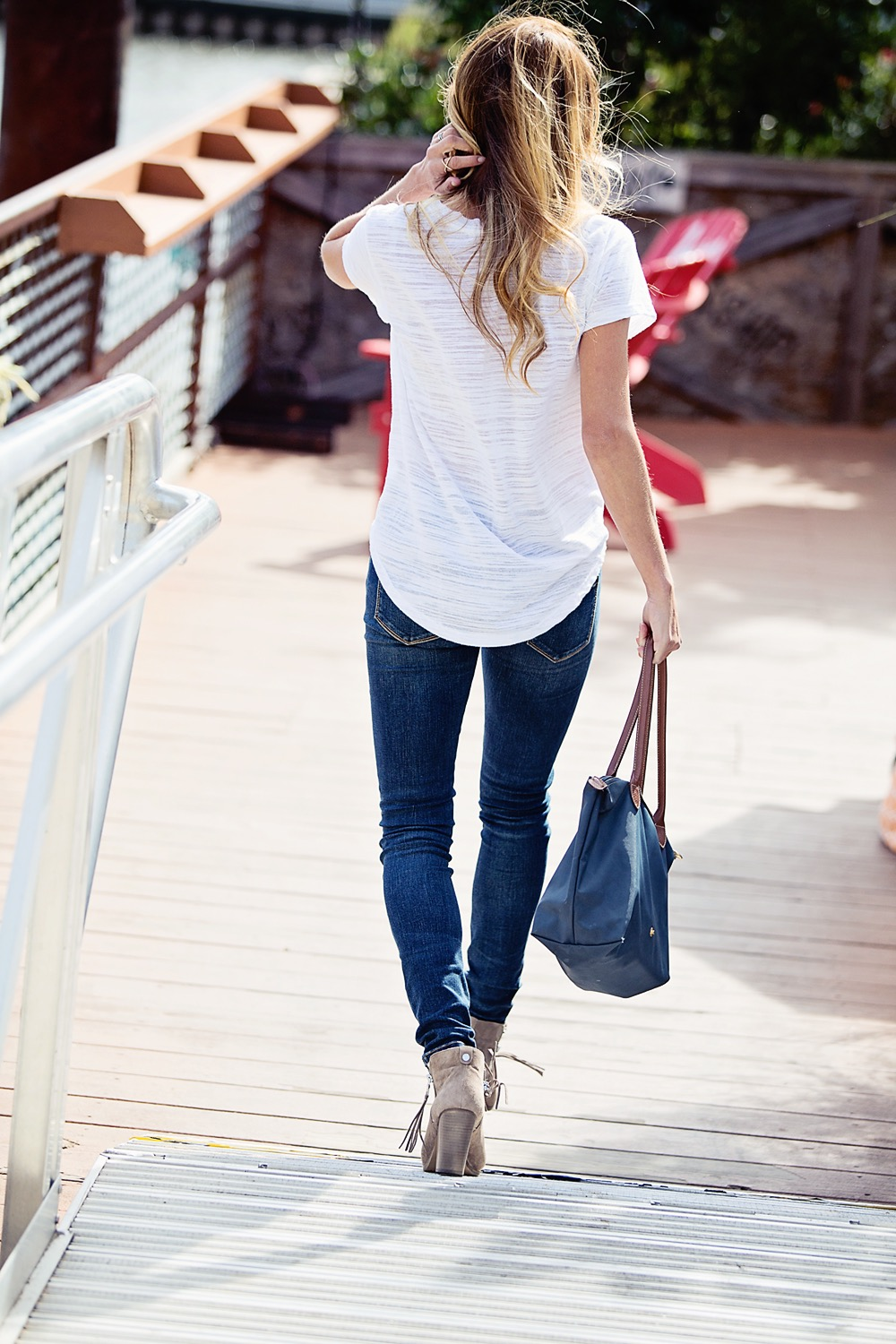 The Motherchic wearing blanknyc denim and rag and bone booties