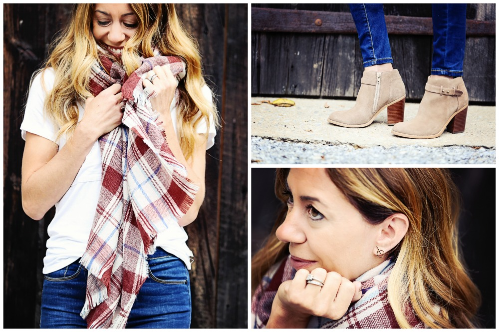 The Motherchic wearing sole society blanket scarf, earrings and booties