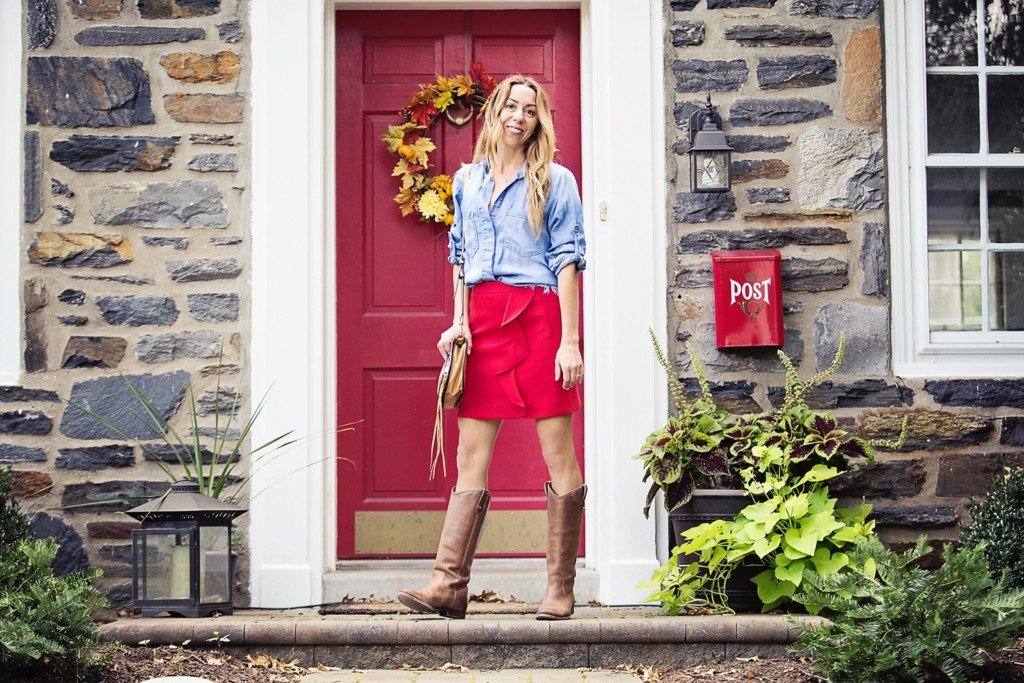 The Motherchic wearing red shirt and chambray top