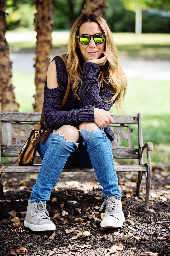The motherchic wearing J.O.A. cold shoulder sweater from Shopbop