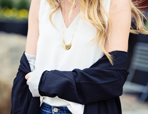 The Motherchic wearing everlane camisole and pilcro blazer