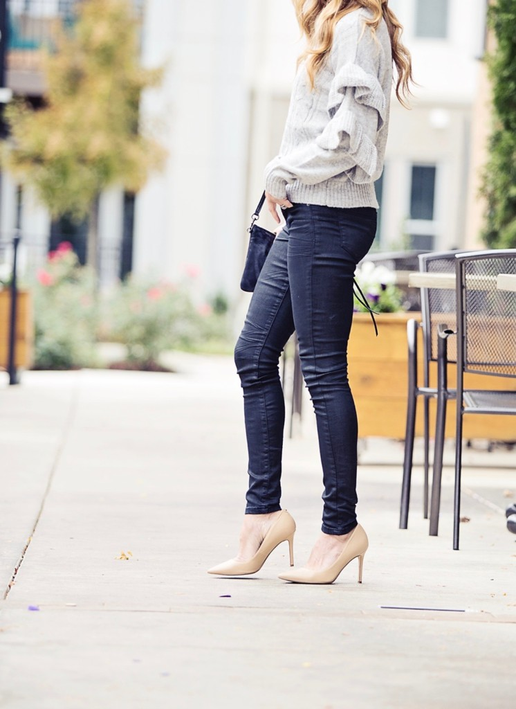 The Motherchic wearing Blank NYC jeans and Wayf sweater from Shopbop