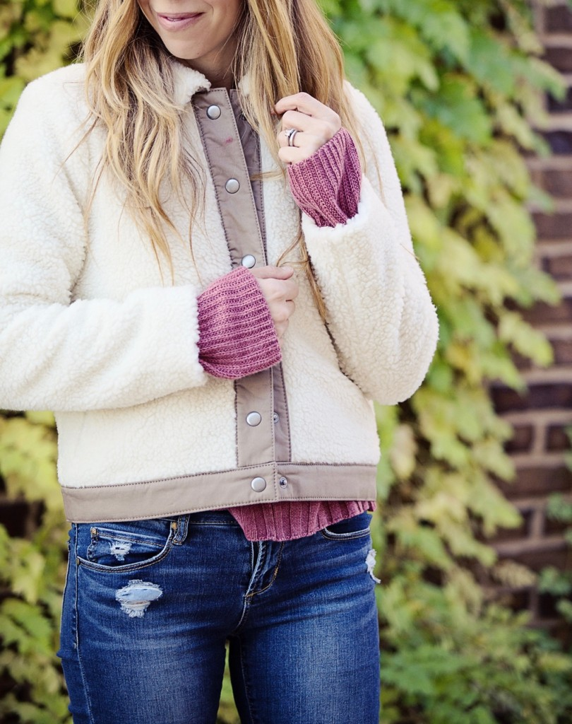 The Motherchic wearing Madewell Faux shearling jacket