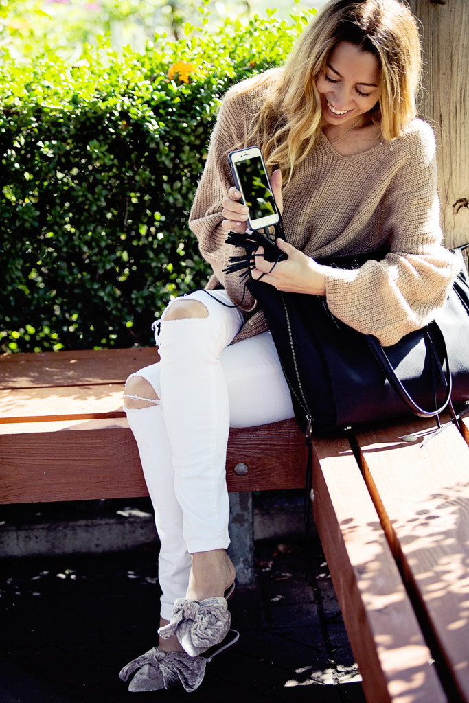The Motherchic wearing Rebecca Minkoff Always on Side Tote