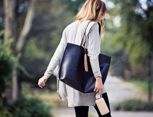 The Motherchic wearing fall tote from Lord & Taylor