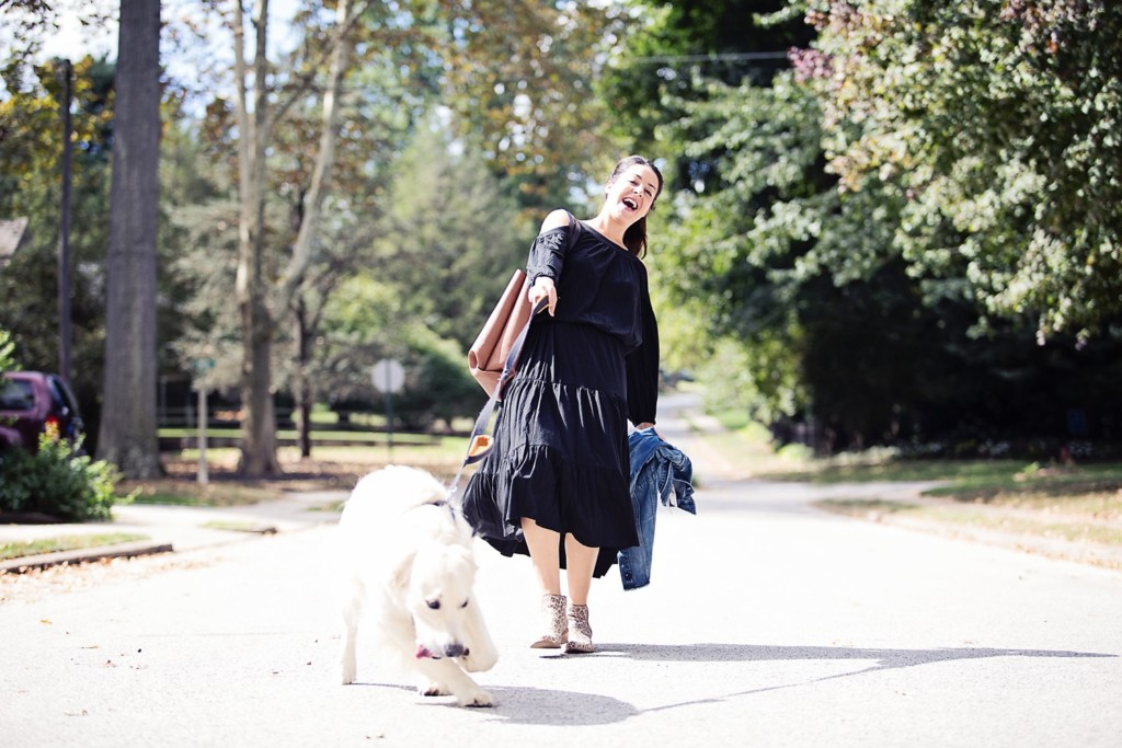 The Motherchic wearing black dress from Lord & Taylor
