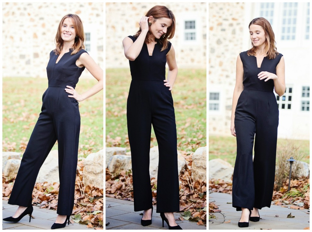 The Motherchic wearing Tahari jumpsuit