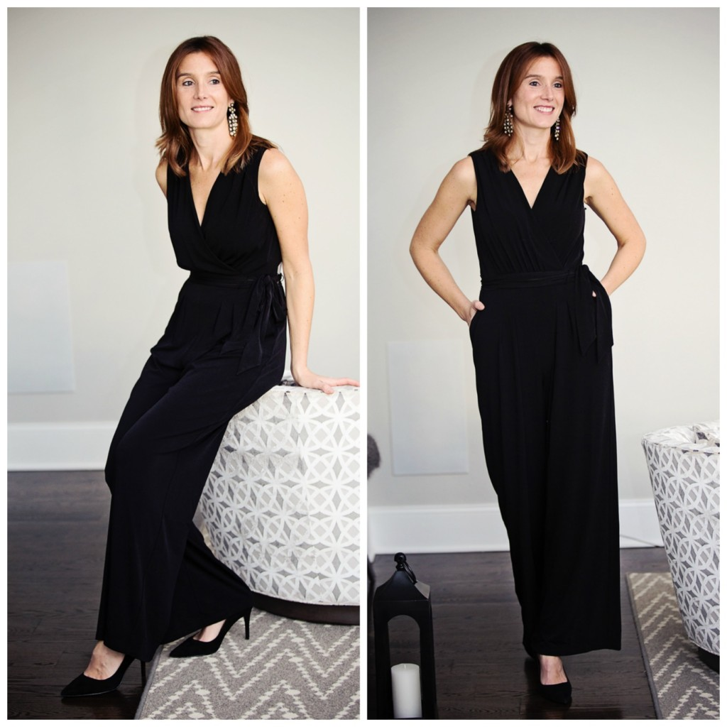 The Motherchic wearing Vince Camuto wrap jumpsuit