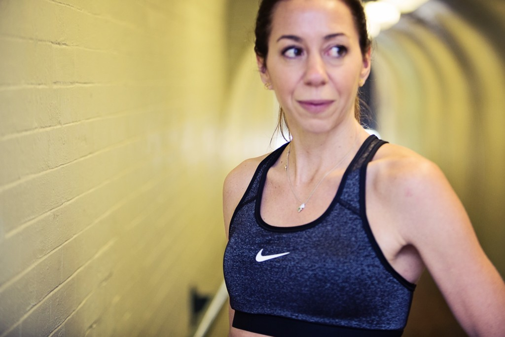 the Motherchic wearing Nike sports bra