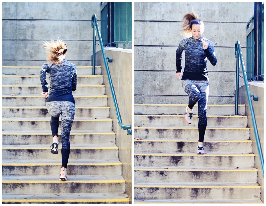 The Motherchic wearing Nike Pro Warm leggings