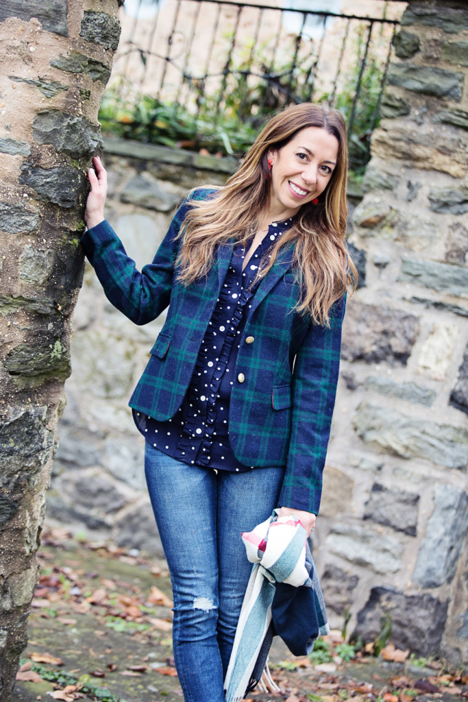 The Motherchic wearing J.Crew factory plaid blazer