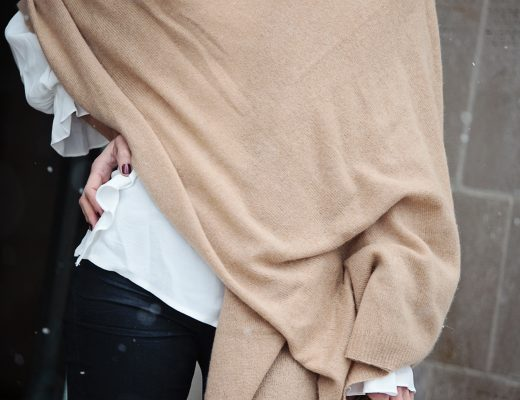 The Motherchic wearing sole society cashmere wrap