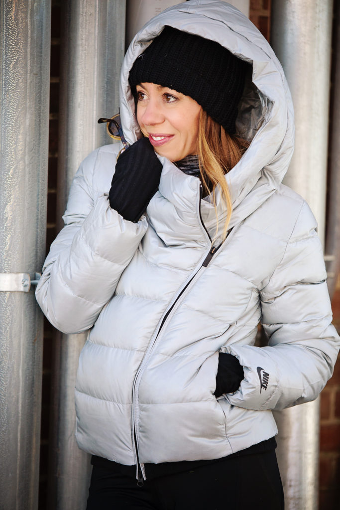 The Motherchic wearing nike down jacket