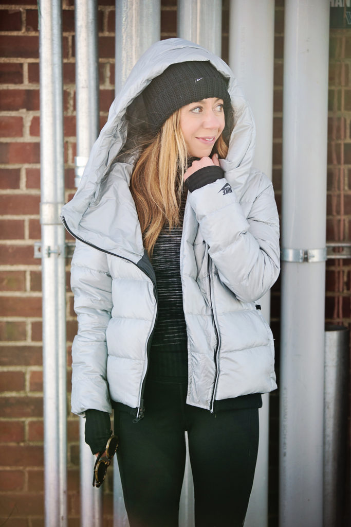 The Motherchic wearing Nike down puffer jacket