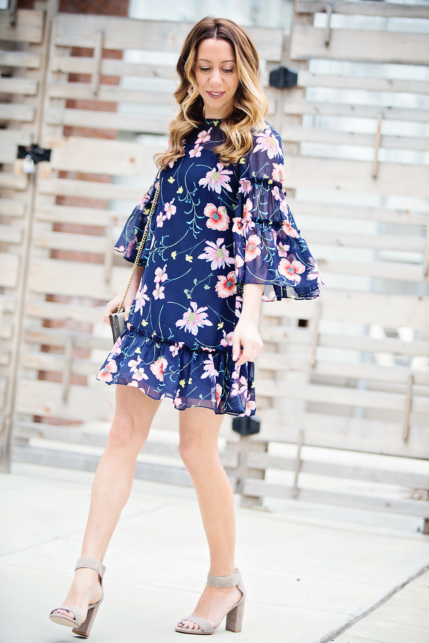 The Motherchic wearing Nordstrom floral dress