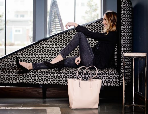 The Motherchic wearing black and blush