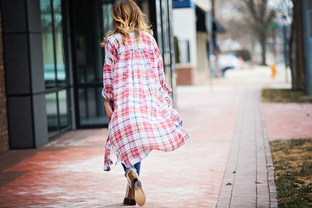 The Motherchic wearing plaid duster by free people