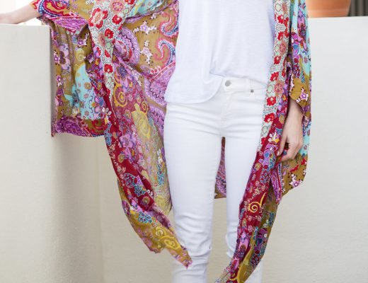 The Motherchic wearing free people kimono and white jeans