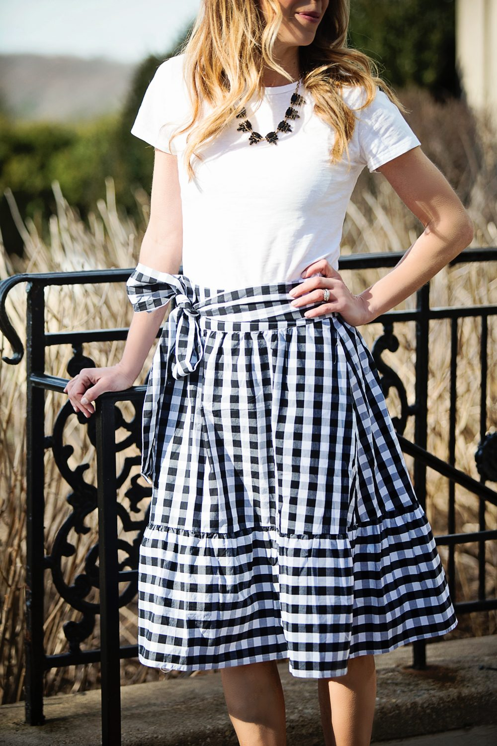 The Motherchic wearing gingham skirt from J.Crew Factory