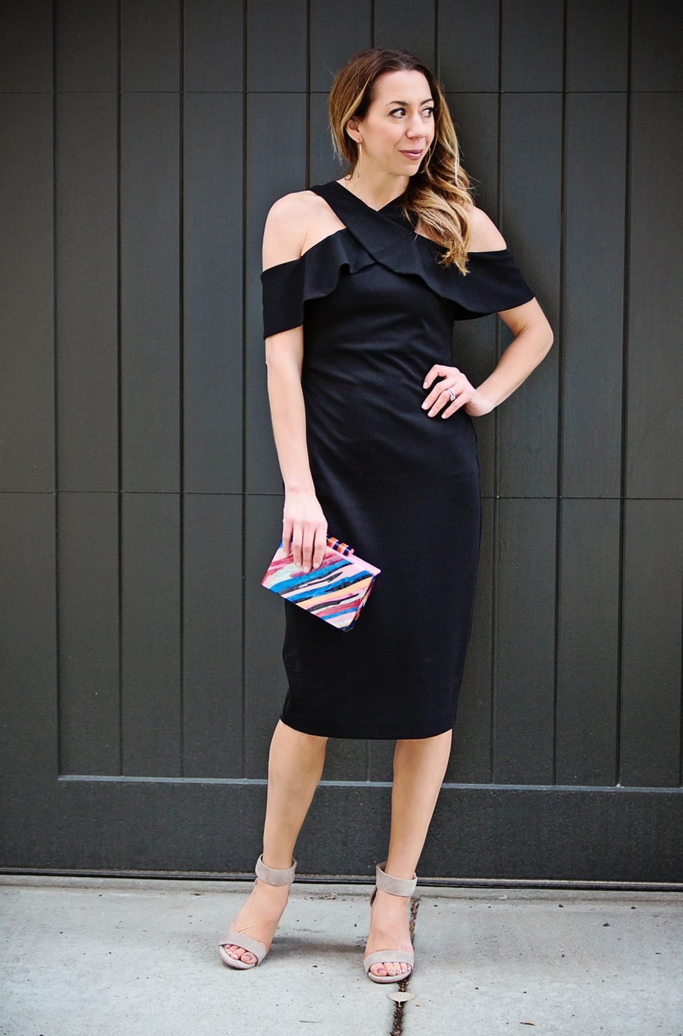 The Motherchic wearing Rachel Roy black dress