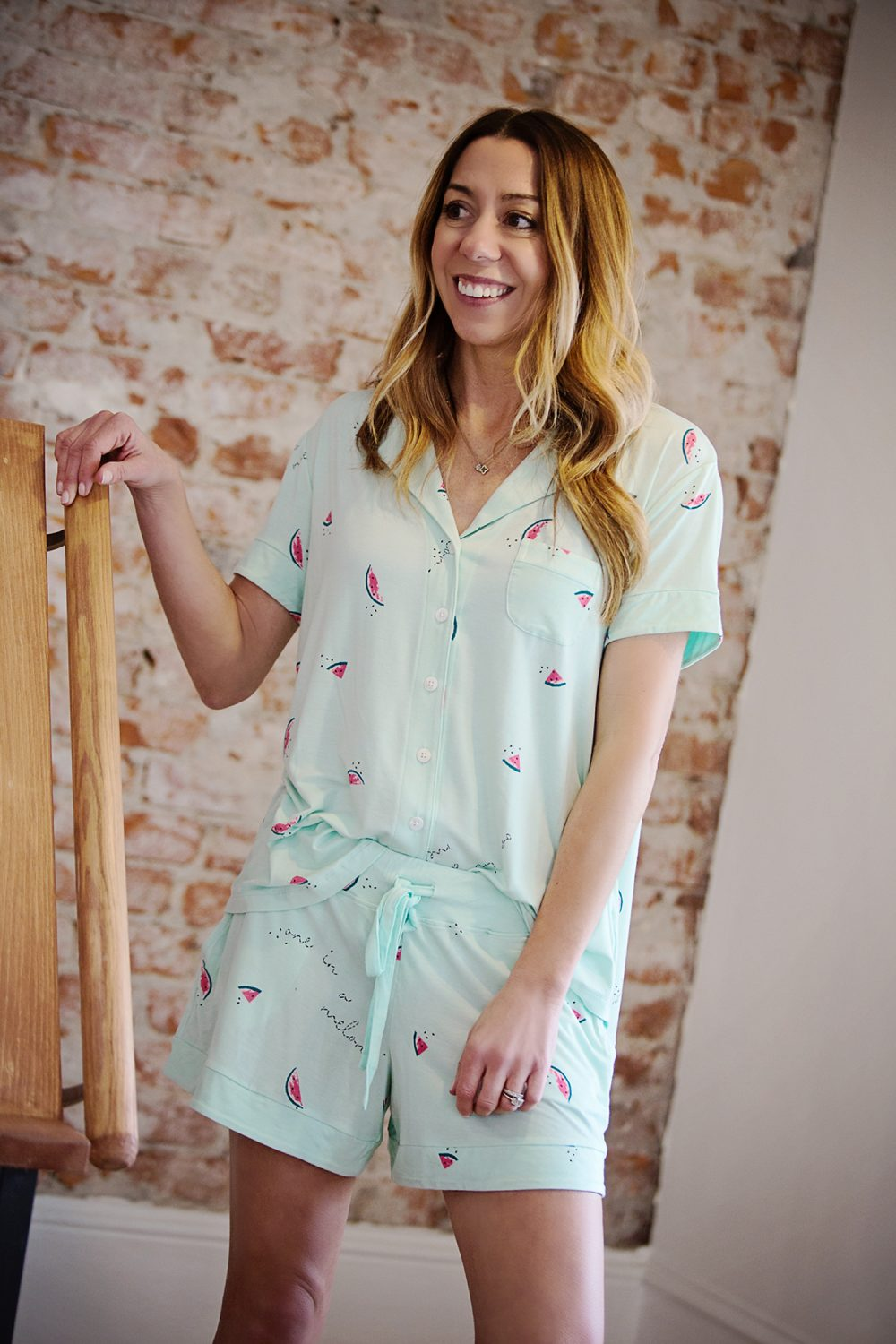The Motherchic wearing Soma Cool nights pajamas
