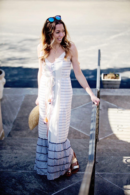 The Motherchic wearing Tularosa beach maxi dress