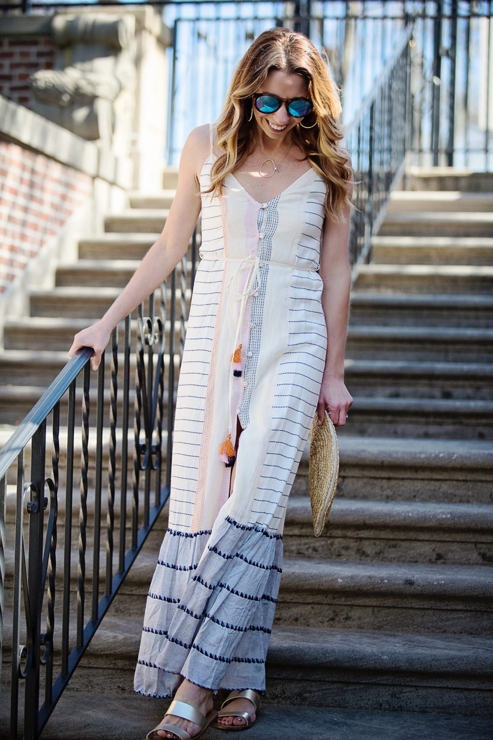 The Motherchic wearing Tularosa tassel dress