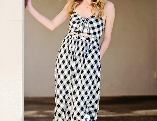 The Motherchic wearing Bardot gingham dress
