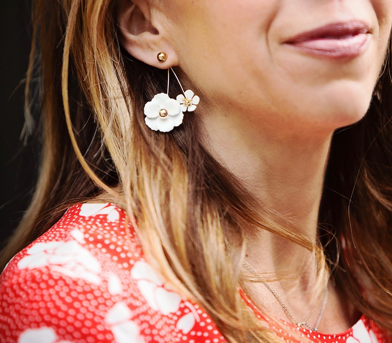 The Motherchic wearing floral earrings