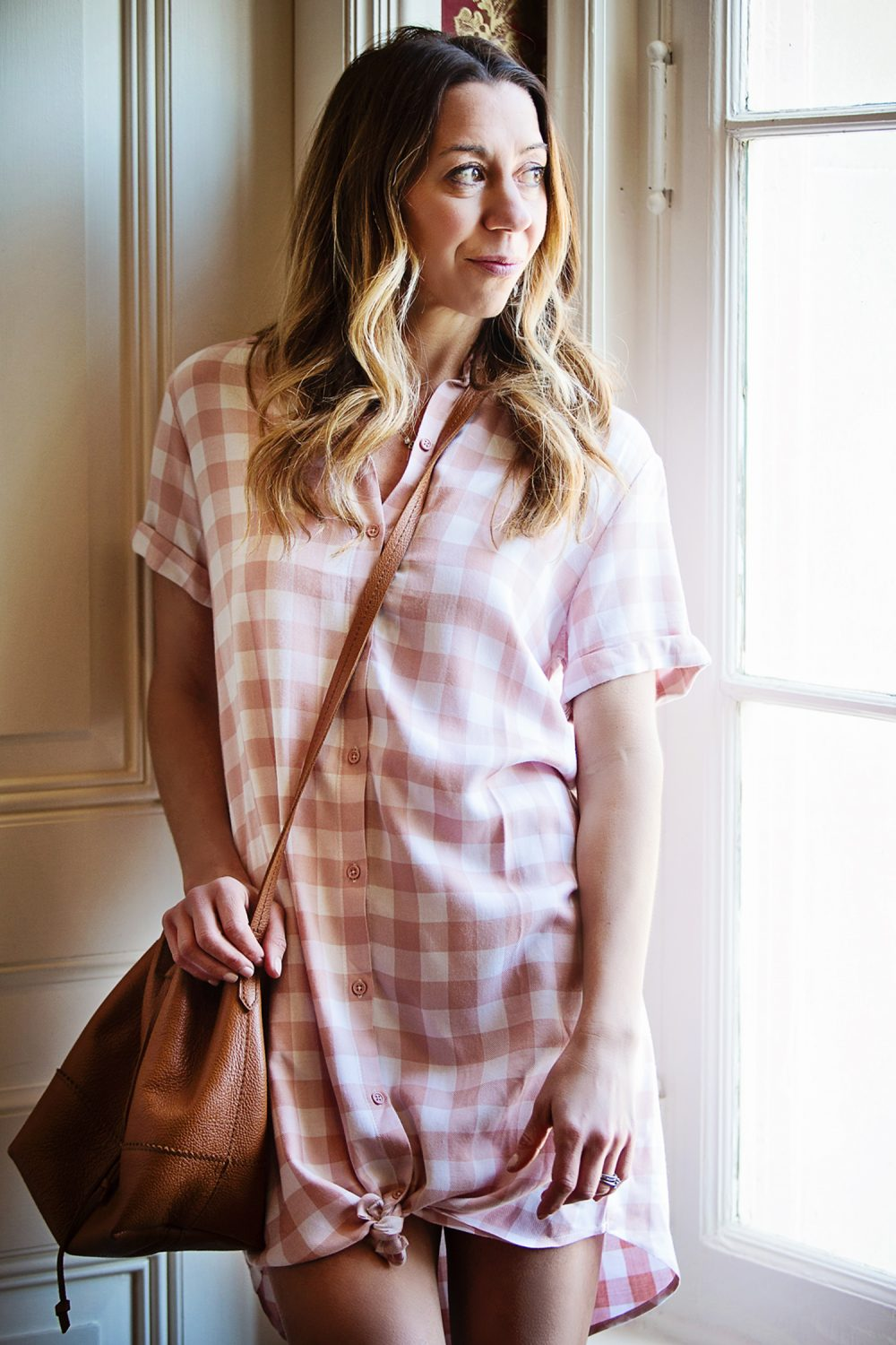 The Motherchic wearing BB Dakota shirt dress