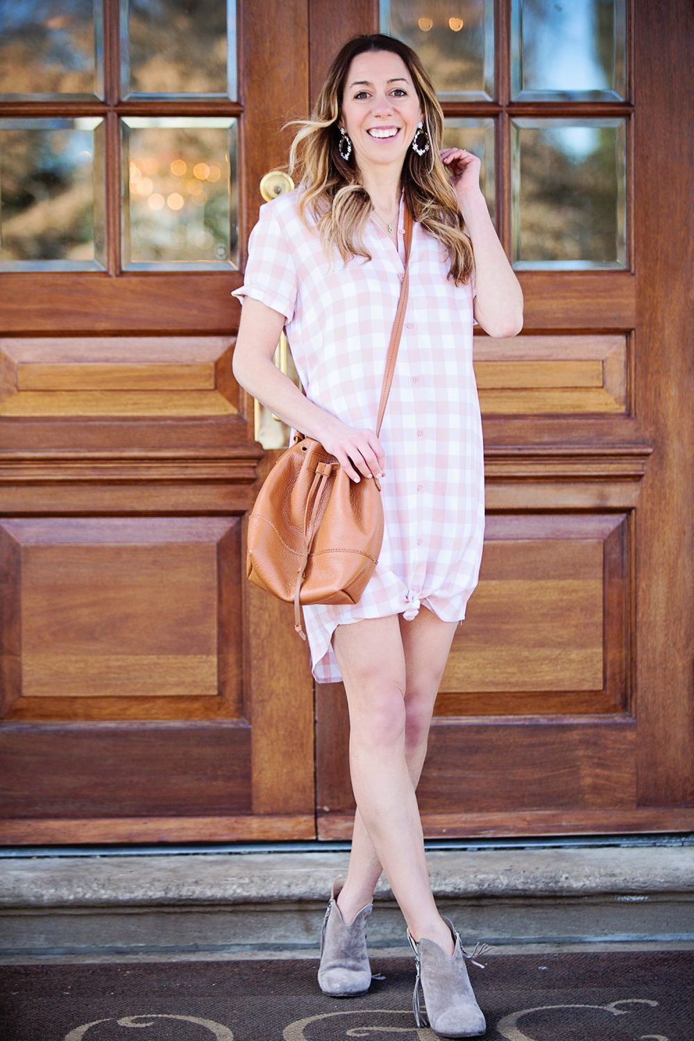The Motherchic wearing BB dakota shirtdress