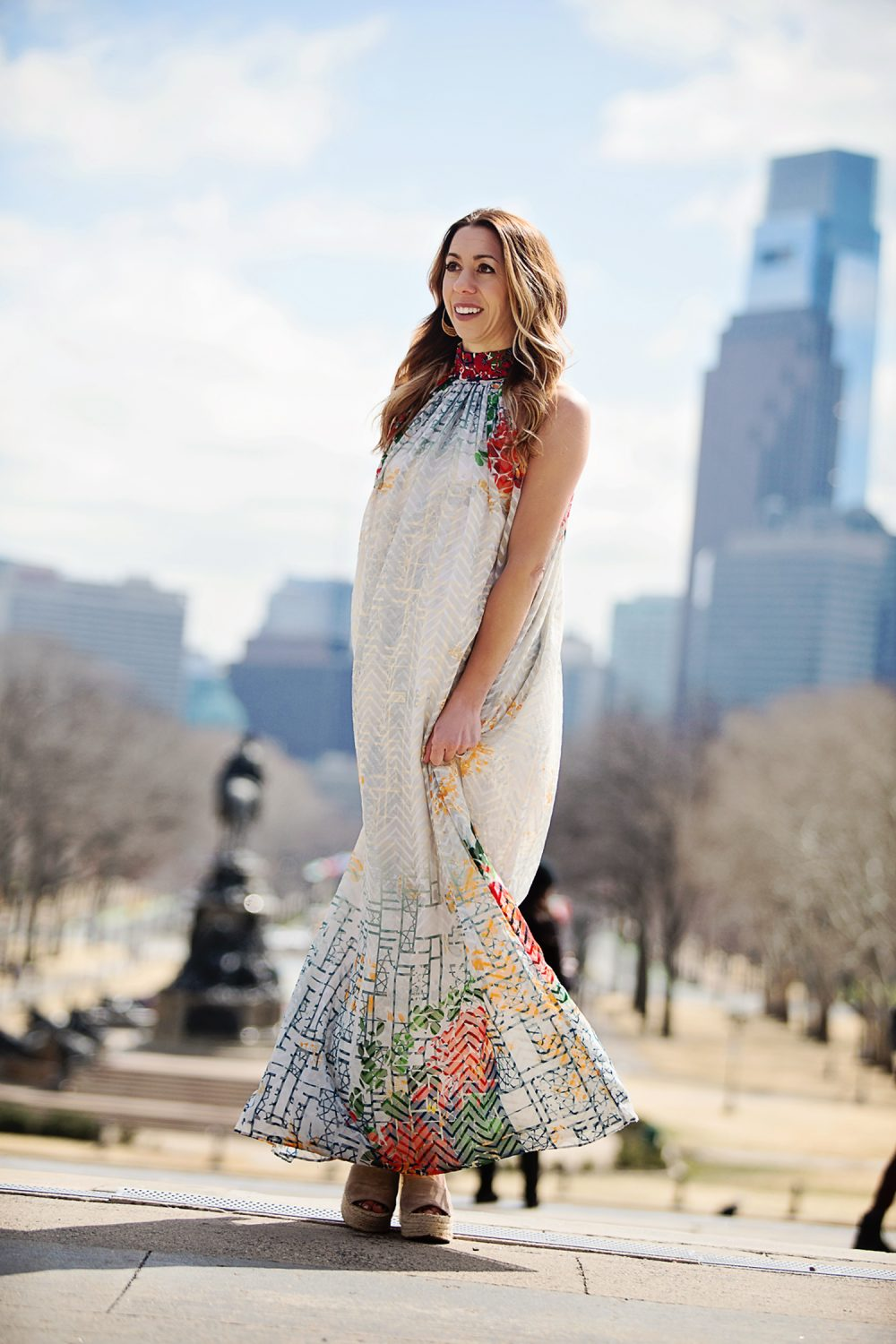 The Motherchic wearing Anthropologie maxi dress