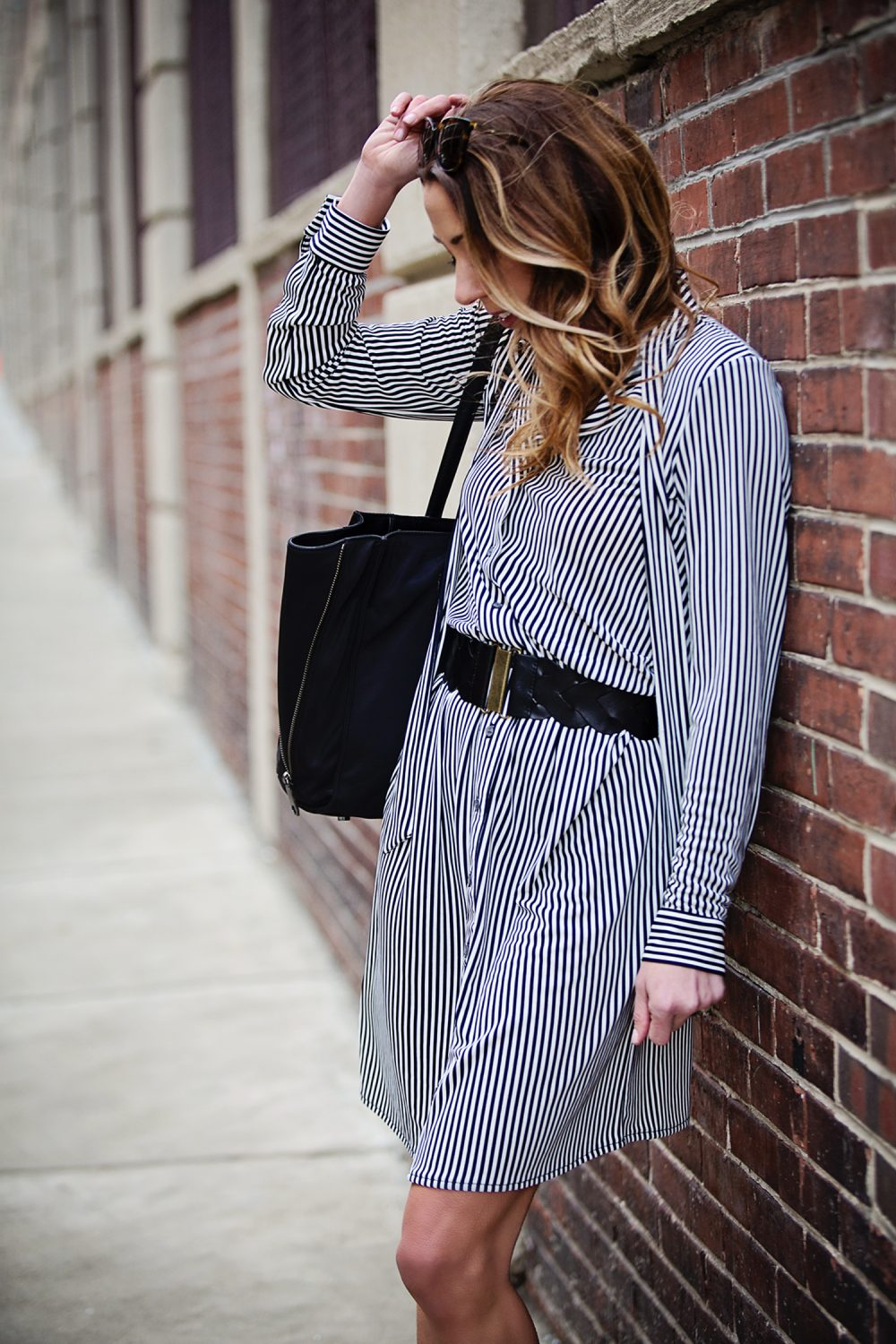 The Motherchic wearing Ann Taylor workwear dress