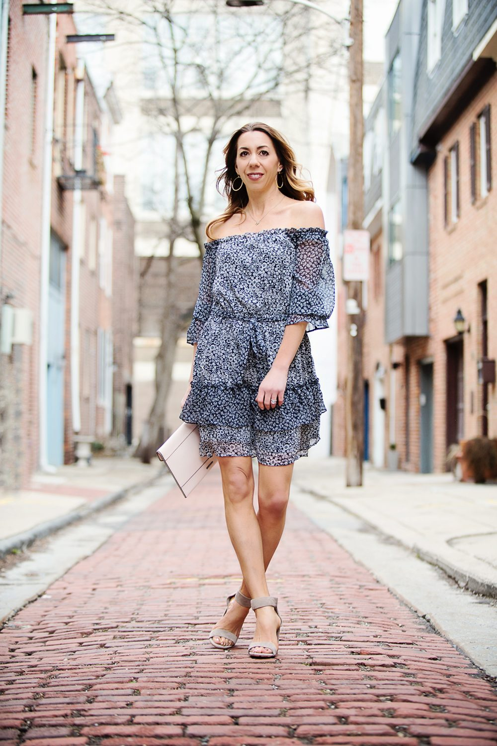 The Motherchic wearing loft off the shoulder dress