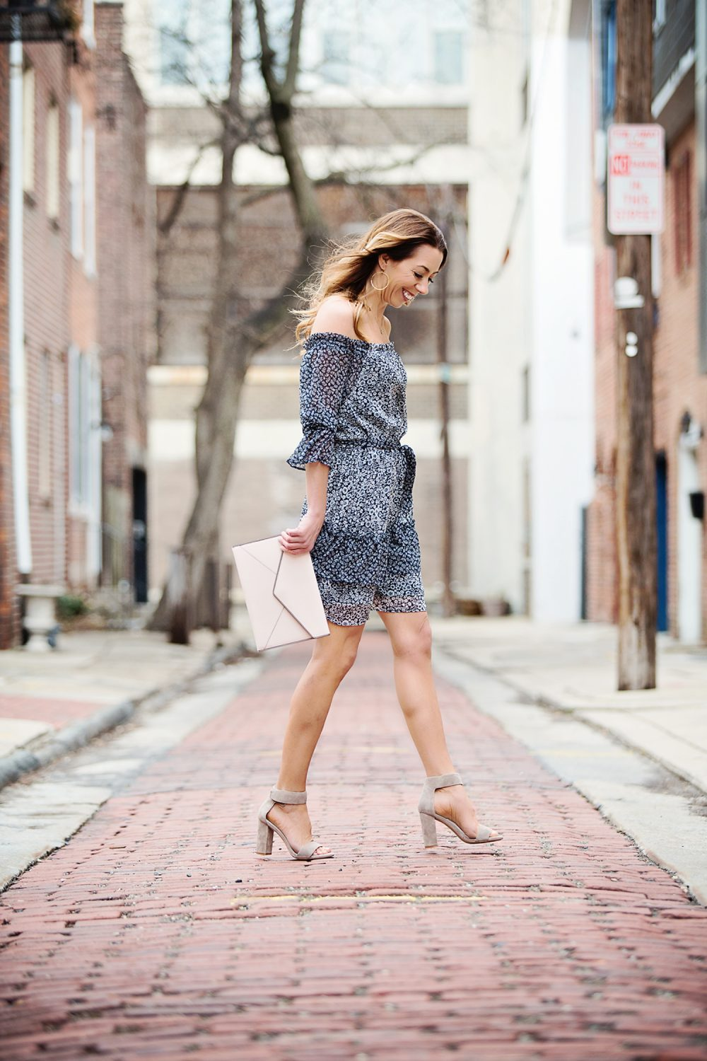 The Motherchic wearing a loft date night dress