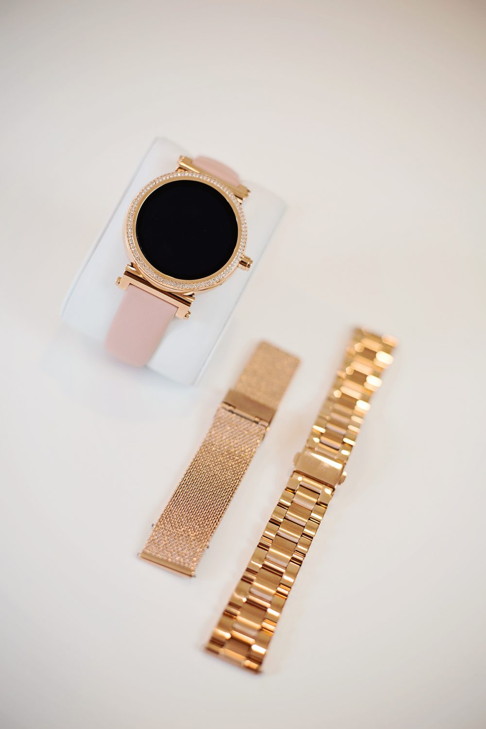 Pave Rose Gold-Tone and Acetate Smartwatch